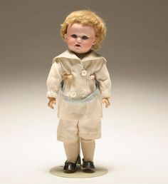 """George Borgfeldt Armand Marseilles German bisque boy character doll; 11""""H. Eyes are not attached in head. H 11""""; head is in good condition, eyes are loose."""