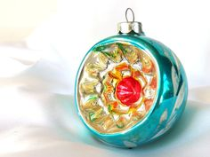 Vintage Turquoise Aqua Indent Christmas Holiday Romania Ornament