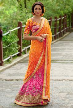 Appealing Rani Pink and Orange #Lehenga Style #Saree
