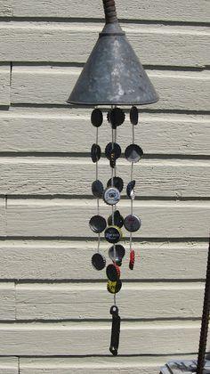 beer cap wind chime, galleries, craft, garden art, beer caps, wind chimes, garden idea, bottl cap, alley