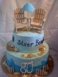 beach themed 80th birthday cake