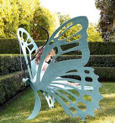 Butterfly Garden Bench / Chair little girls, garden chairs, butterfli bench, butterflies, garden benches, gardens, seats, backyard, yards