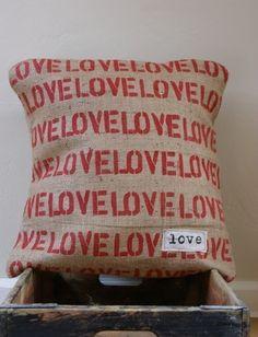 burlap love pillow