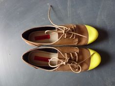 fashion shoe, shoes, craft, cloth, style, neon, spray paint, yellowtip oxford, diy