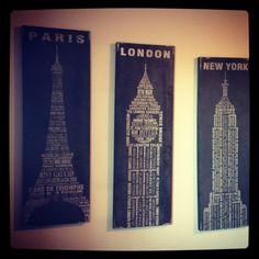 Pier 1 Paris, London and New York Wall Decor