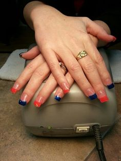 Denver Bronco nails :)