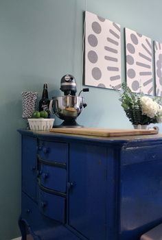 old dresser in kitchen instead of island, for kitchenaid and cutting board