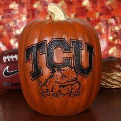 TCU Horned Frogs 12'' Resin Decorative Pumpkin