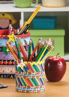 Back to school canisters | Fun kids project for fall | teacher craft for the classroom