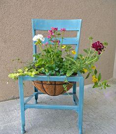 repurposed chair garden container