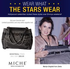 Wear what the Stars Wear -- Miche!  Miche! Marilyn Ghigliotti from Clerks with a Miche Luxe Bag Get yours for a limited time. #handbags #miche #celebrity #emmys