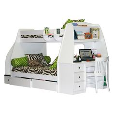Enterprise Twin over Full Bunk Bed with Storage Drawers / Desk / Stairway