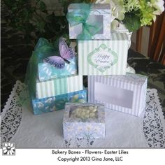 Printables for Easter - Bakery Boxes with Windows, Easter Gift Basket Boxes, Easter Gift Ideas - do it yourself, hand made pretty elegant Easter theme designs. Shabby Chic Easter Boxes - Paper Crafts - Gina Jane Designs - DAISIE Company