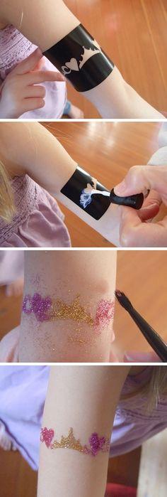 diy sleepover, fairy princess party, crafti, girls birthday parties, princess parti, appli glitter, glitter tattoo diy, parti diy, diy glitter tattoos