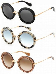 miu miu black acetate round sunglasses