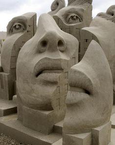 "Sand art ""...who can understand a woman's mind?.... It's as different as each grain of sand on a beach."" Sand Art, Sand Castles, Sand Sculptures, Street Art, Art Faces, Sandcastl, Beach, Sandsculptur, Chalk Art"