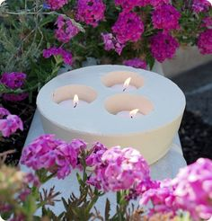 make your own cement candle holders/planters
