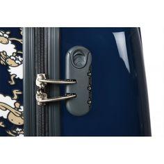 Detalle del cierre de combinacion integrado en el lateral de todas las maletas Kukuxumusu