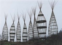 Woven plant supports or garden sculpture by Molly Rathbone
