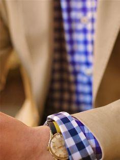blue check, khaki suit