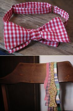 Nice red and white check......DIY: adjustable bow tie