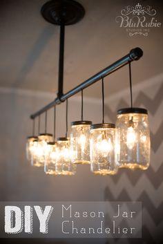 Pensacola Photography and Design | BluRubie Studios | DIY Mason Jar Chandelier, Light