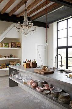 Concrete Kitchen Island Chandelier/Remodelista