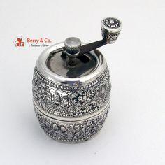 Vintage Pepper Grinder Taj Mahal and Floral Repousse Decorations 900 Silver
