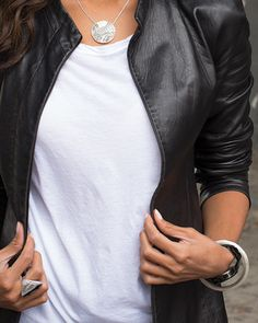 You can never go wrong with a leather jacket and a white tee. #Silpada #FallFashion