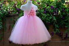 #GB Paris Pink Flower Girls Tutu Dress by PoshBabyStore.com