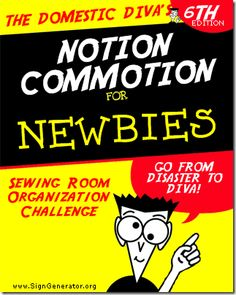 The Domestic Diva's Sewing Room Organization Challenge:  Part 6 - Notion Commotion