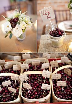 Americana wedding ideas ~ cherry table no. centerpieces yummy!   Will it be cherry season by Easter?? ;)