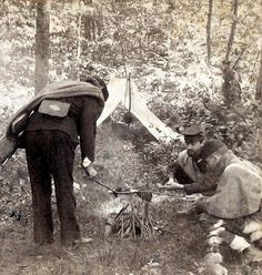 Pickets cooking their rations. Reserve picket fort near Fredericksburg, December 9, 1862.    Taylor & Huntington