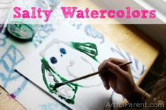 Watercolor and Salt Painting - A fun go-to art activity for kids