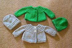 Hand Knitted - Gray or Olive Green Baby Sweater  10.00