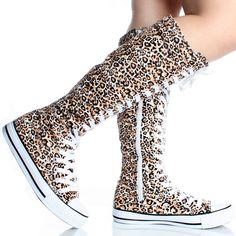 White-Brown-Leopard-Canvas Lace Up Sneaker Punk Flat Knee-High Boots