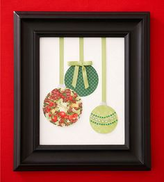 Add decor to your walls with this super simple Hanging Ornament Artwork idea! More Christmas crafts: http://www.bhg.com/christmas/crafts/christmas-holiday-crafts/?socsrc=bhgpin122013hangingornamentartwork&page=19