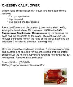 Tupperware Cheesy Cauliflower - Great Stack Cooker veggie Recipe. Visit my website: my2.tupperware.com/susanwilliford