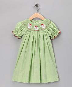 Take a look at this Green Santa Short-Sleeve Bishop Dress - Infant, Toddler & Girls by Secret Wishes on #zulily today!