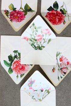 floral envelopes, pretty