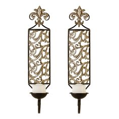 """Find it at bombaycompany.com  - Scroll Fleur de Lis Sconces - Set of Two. Classic and elegant, our exclusive Scroll Fleur de Lis sconces are crafted from wire and filigre metal. The matching set features antique gold highlights on the open scrollwork, and fleur de lis finials that top the two sconces. Use 3"""" ball candles to showcase open cutwork best."""