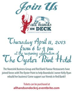 """April 11, 2013 at The Oyster Point Hotel- All Hands on Deck benefiting The Boondocks Fishery.   Tickets are $50 in advance.     After the devastation of Hurricane Sandy, we're a whole community coming together to help get our beloved Boondocks Fishery on its feet again. Whether it be wearing silly """"lobster ears"""" or eating lobster with your hands, it's a place for fun and fun times; where sharing a table means meeting new friends.     Rebuild New Jersey Businesses."""