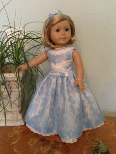 Blue glitter lace dress with satin bodice and by SmallWorldCouture
