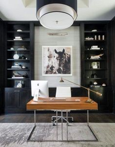 I love this look for Office Interior Design and Decor Inspo. Great color palette of whites, grays, and pops of color with black accents for contrast. Looks comfy and cozy but with great style and a clean look. #office #officeinspo #interiordesigninspo #homedesigninspo