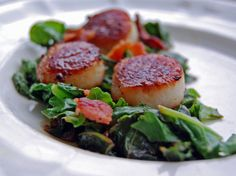 Pan Seared Scallops with Bacon and Kale