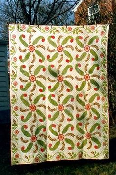 RARE! 1850 RED & GREEN APPLIQUE TRAPUNTO QUILT - ANTIQUE CIVIL WAR FOLK ART    PROVENANCE! NAME OF MAKER, TOWN, & HISTORY KNOWN!   historic_quilt_co