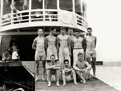 """Shorpy Historic Picture Archive :: Boys' Club: 1910 """"Columbia crew at Poughkeepsie boathouse -- Members of the Columbia University varsity eight-oared crew team. Top row: R.K. Murphy, F. Miller, Paul Renshaw, A.M. Hamman, W. Steinschneider, G. Downing; bottom row: S. Pitt, A. Brock, and F.H. Saunders at Poughkeepsie, New York, for an intercollegiate regatta."""" Gelatin silver print."""