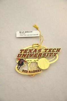 Gold Texas Tech University Hoop & Basketball Ornament