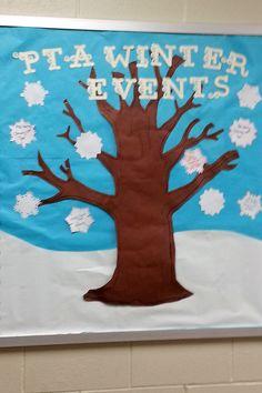PTA winter events bulletin board idea