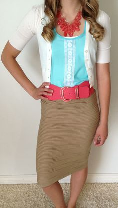 Tank pencil skirt, turquoise tank, white cardigan, coral belt and jewelry